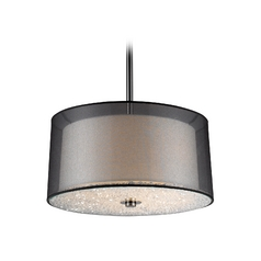 Modern Drum Pendant Light with White Glass in Black Chrome Finish