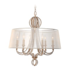 Crystorama Lighting Garland Distressed Twilight Pendant Light with Drum Shade