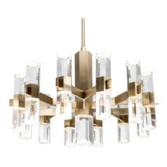 Modern Vintage Brass LED Chandelier with Clear Shade 3000K 6250LM