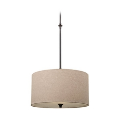 Drum Pendant Light with Beige / Cream Shade in Burnt Sienna Finish
