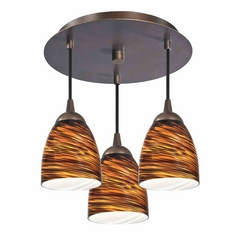 Modern Bronze Semi-Flushmount Light with Bell Art Glass