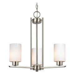 Chandelier with White Glass in Satin Nickel - 3-Lights