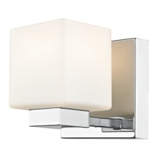 LED Sconce with Square White Glass in Chrome Finish
