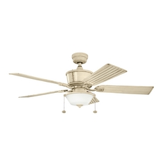 Kichler Lighting Cates Aged White Ceiling Fan with Light