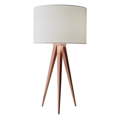 Adesso Home Director Brushed Copper Table Lamp with Drum Shade