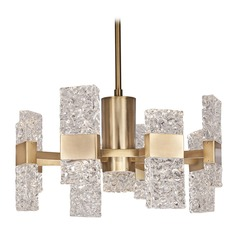 Modern Brushed Gold LED Chandelier with Ice Clear Shade 3000K 2180LM