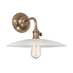 Sconce Wall Light with Clear Glass in Aged Brass Finish