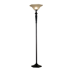 Torchiere Lamp with Amber Glass in Oil Rubbed Bronze Finish