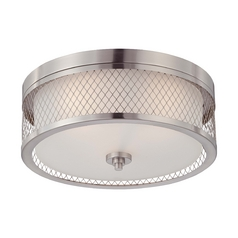 Modern Flushmount Light with White Shades in Brushed Nickel Finish