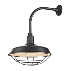 Black Outdoor Barn Wall Light with Gooseneck Arm and 16