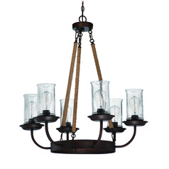 Lodge / Rustic / Cabin Chandelier Bronze Thornton by Craftmade Lighting