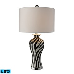 Dimond Lighting Black, White, Chrome LED Table Lamp with Drum Shade