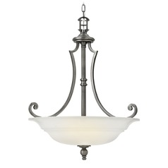 Hinkley Lighting Plymouth Polished Antique Nickel Pendant Light with Bowl / Dome Shade