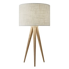 Adesso Home Director Natural Wood Table Lamp with Drum Shade