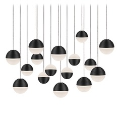 Modern Black LED Multi-Light Pendant with Frosted Shade 3000K 6400LM
