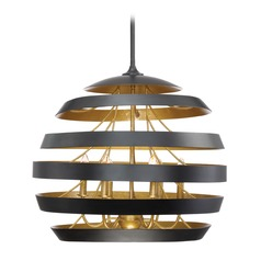 Transitional Pendant Light Black Stadium by Quoizel Lighting