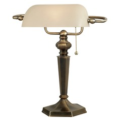 Piano / Banker Lamp with Beige / Cream Glass in Georgetown Bronze Finish