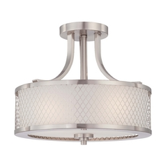 Modern Semi-Flushmount Light with White Shade in Brushed Nickel