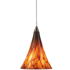 Small Murano Glass Mini-Pendant Light in Antique Bronze