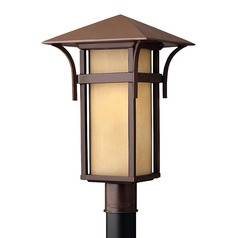 LED Post Light with Amber Glass in Anchor Bronze Finish