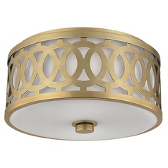 Genesee 2 Light Flushmount Light Drum Shade - Aged Brass