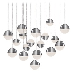 Modern Brushed Nickel LED Multi-Light Pendant with Frosted Shade 3000K 400LM