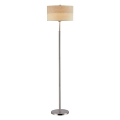 Modern Floor Lamp with Brown Shade in Polished Steel Finish