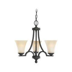 Sea Gull Lighting 3-Light Mini Chandelier with Beige/Cream Glass in Blacksmith