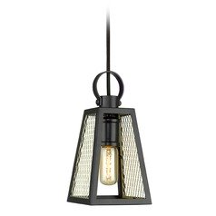 Abbott Small Pendant in Black with Satin Brass Mesh Panels