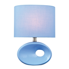 Lite Source Lighting Hennessy II Blue Table Lamp with Oval Shade