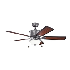 Kichler Lighting Cates Weathered Steel Powder Coat Ceiling Fan with Light
