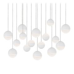 Modern White LED Multi-Light Pendant with Frosted Shade 3000K 6400LM