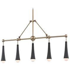 Hudson Valley Lighting Tupelo Aged Brass LED Island Light with Globe Shade