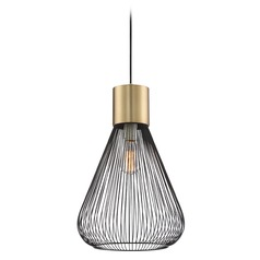 Lite Source Freira Black and Antique Brass Pendant Light with Bowl / Dome Shade