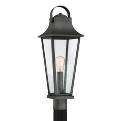 Seeded Glass Post Light Black Galveston by Quoizel Lighting