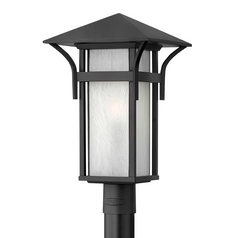 Etched Seeded Glass LED Post Light Black Hinkley Lighting