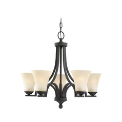 Chandelier with Beige / Cream Glass in Blacksmith Finish