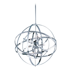 Modern Orb Pendant Light in Polished Chrome Finish and Nine Lights