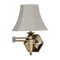 Swing Arm Lamp with Beige / Cream Shade in Georgetown Bronze Finish