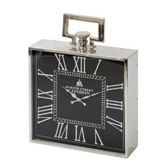 Large Square Clock in Polished Nickel Finish