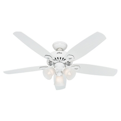 Hunter Fan Company Builder Plus Snow White Ceiling Fan with Light