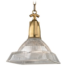 Langdon 1 Light Pendant Light Square Shade - Aged Brass