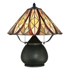 Quoizel Lighting Victory Valiant Bronze Table Lamp with Conical Shade
