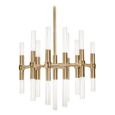 Modern Vintage Brass LED Mini-Chandelier with Clear Shade 3000K 1810LM