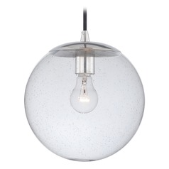 Polished Nickel Mini-Pendant Light Seeded Glass Globe Vaxcel Lighting