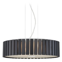 Lite Source Maxwell Chrome Pendant Light with Drum Shade