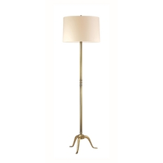 Floor Lamp with Beige / Cream Paper Shade in Vintage Brass Finish