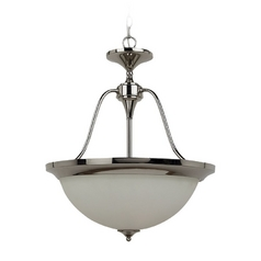 Sea Gull Lighting Modern Pendant Light with White Glass in Polished Nickel Finish 65972-841