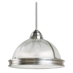 Farmhouse Prismatic Glass Pendant Light Brushed Nickel Pratt Street by Sea Gull Lighting