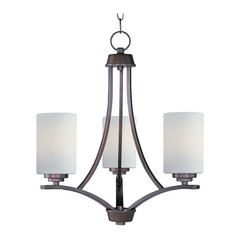 Modern Mini-Chandelier with White Glass in Oil Rubbed Bronze Finish